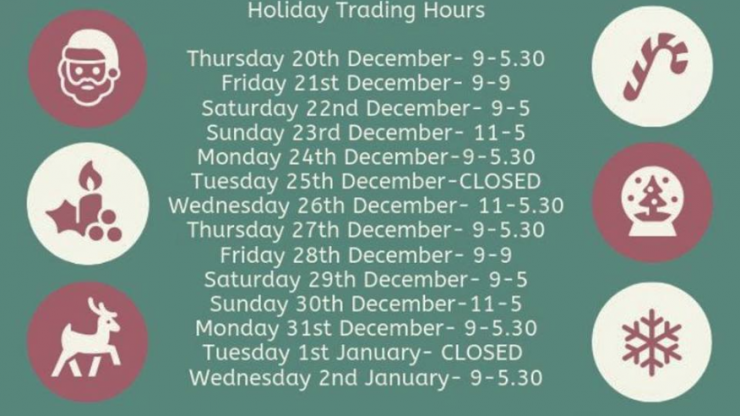 Our Holiday Trading Hours